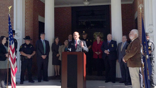 U.S. Rep. Tom Reed speaks Friday outside the Schuyler County Courthouse to shed light on the Help Ensure Lives are Protected Act, which would allow harsher penalties in drug crime prosecution.