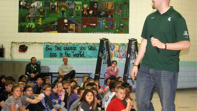 Former MSU basketball player Anthony Ianni had a captive audience Friday at Thornton Creek Elementary School in Novi.