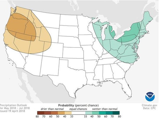 May-July 2018 precipitation outlook for the Contiguous United States.
