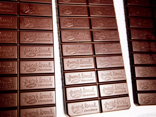 Fresh bars of chocolate molded with the French Broad