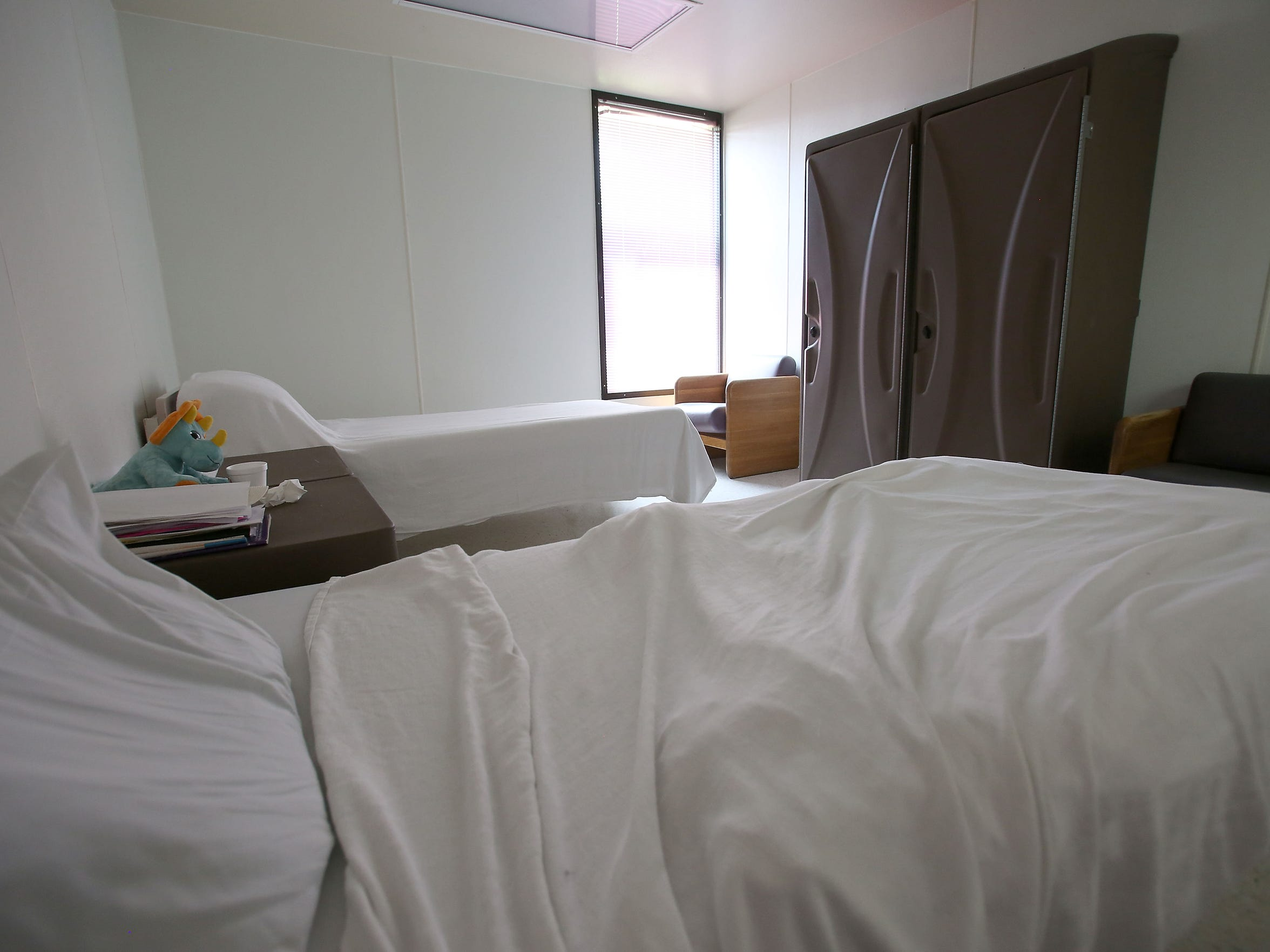 A room and two beds at the County of Riverside Mental Health building in Indio.