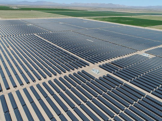 The 50-megawatt Sonora solar farm in Calipatria, California, part of the 150-megawatt Solar Gen 2 project, seen from a drone. Solar Gen 2 was originally developed by Green Light Energy Corp.