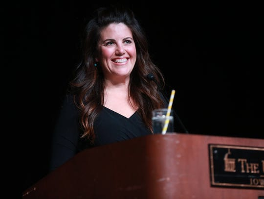 Monica Lewinsky speaks to guests at the Iowa Memorial