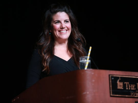 Monica Lewinsky speaks to guests at the Iowa Memorial Union as part of the University of Iowa Lecture Committee series on Tuesday, Oct. 24, 2017.