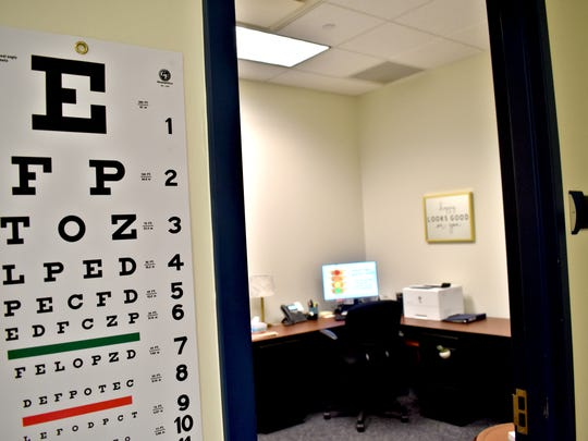 An eye chart hangs on the wall in the newly opened St. Georges Technical High School wellness center.