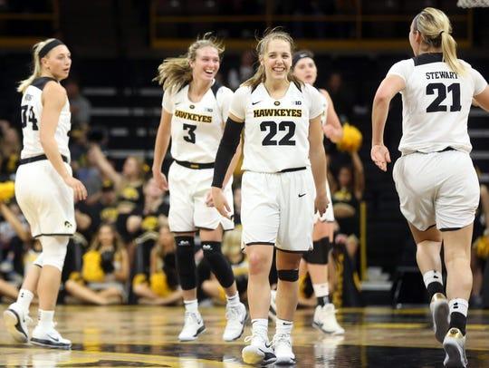 Iowa's Kathleen Doyle (22) and Makenzie Meyer (3) celebrate