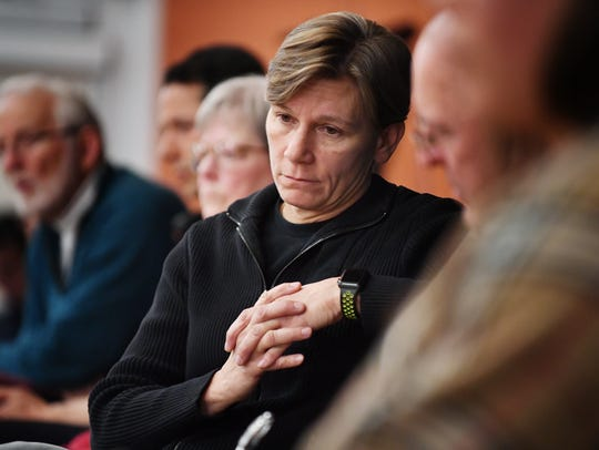 Asheville Police Chief Tammy Hooper listens to community members as they speak during the Asheville Citizens Police Advisory Committee meeting at the Dr. Wesley Grant Sr. Southside Center on March 7, 2018.