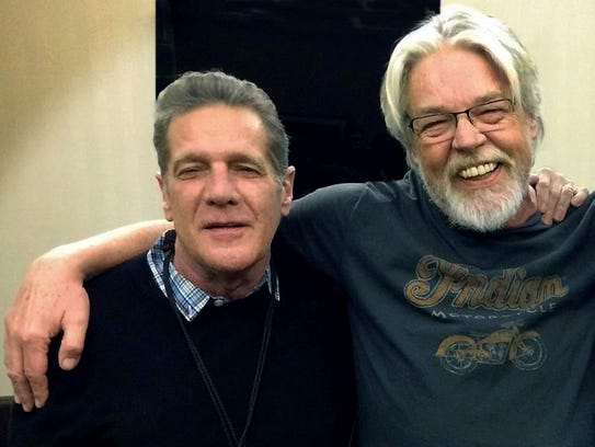 Glenn Frey, left, with Bob Seger, backstage at Seger's