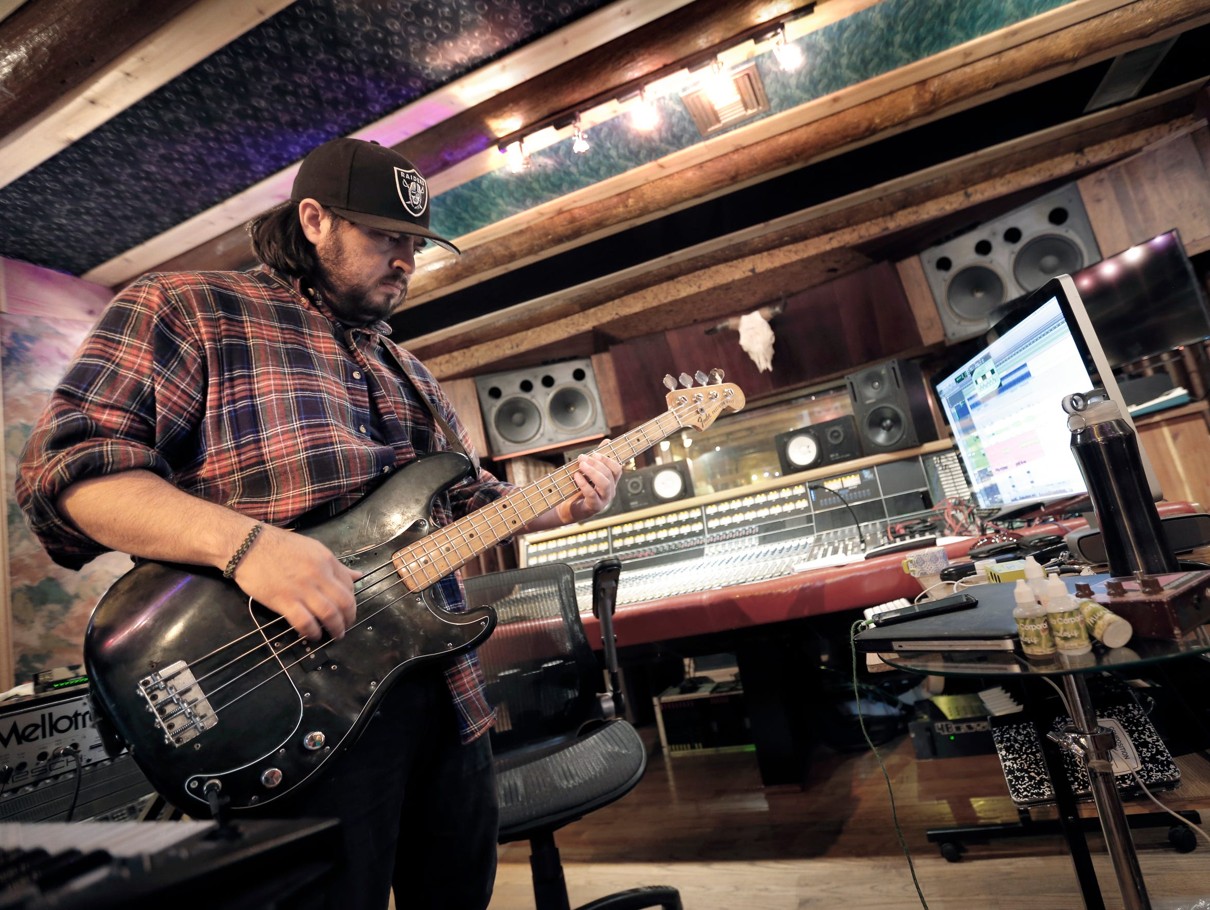 The Chamanas bassist Manuel Carreon records the band's