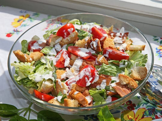 BLT salad with buttermilk-Parmesan dressing and buttery croutons is another great way to enjoy summer tomatoes.