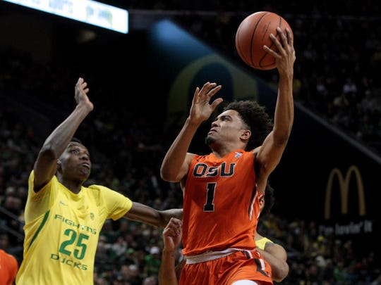 OSU guard Stephen Thompson Jr. (No. 1) led the Beavers in scoring last season.