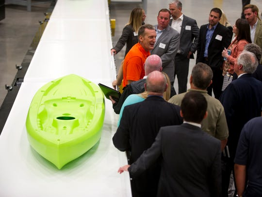 Guests tour Lifetime Products' new factory in Mascot