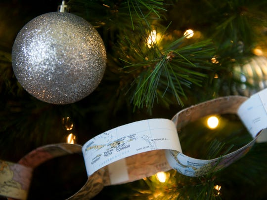 Brandi Cawood created interlocking paper rings for her Christmas tree from a map she used in third grade.