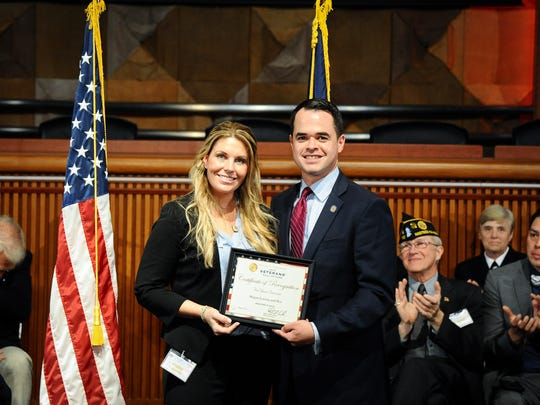 Sen. David Carlucci inducts Cpl. Megan Leavey and her
