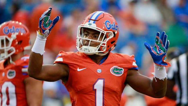 Florida Gators defensive back Vernon Hargreaves III (1) works out prior to the game against the East Carolina Pirates at Ben Hill Griffin Stadium.
