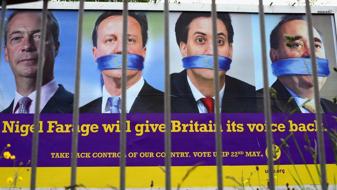 A  UKIP European Parliament election poster on May 20 in Glasgow, Scotland.
