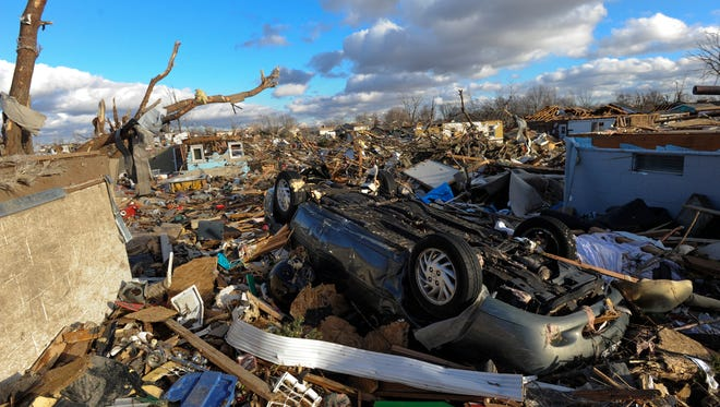 A neighborhood in the Devonshire subdivision of Washington, Ill., is left in ruins after a tornado tore through the northern part of the town on  Nov. 17.