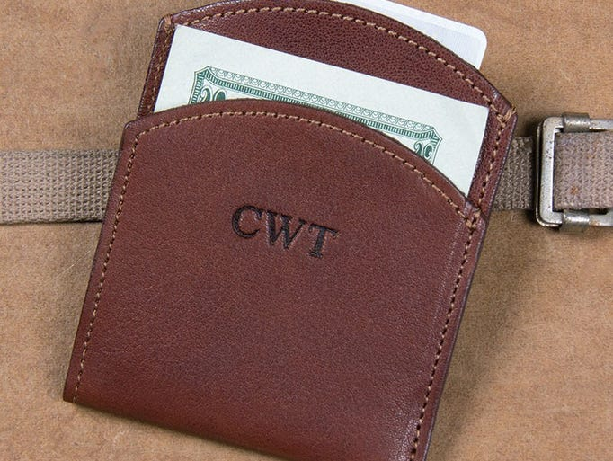 Colonel Littleton leather front pocket wallet, $50, Skuby & Co.