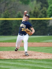 Greencastle's Derek Measell throws a pitch during a non-league game against Chambersburg. The Blue Devils won 4-2.