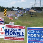 Campaign signs outside Oakdale Baptist Church in Brandon on Tuesday, Aug. 4.