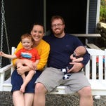 Laura, left, and Erik Randall, with children Evan, now 5, and Elise, now 3. Child Liam, 4 months, isn't pictured.