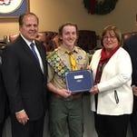 Freeholders honor Denville Eagle Scout for bridge project
