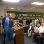 U.S. House Speaker John Boehner gives a nine-minute speech, with U.S. Rep. Tom Latham to his left, and congressional candidate Mariannette Miller-Meeks to his right, at Scott County GOP headquarters this evening, Oct. 27, 2014.