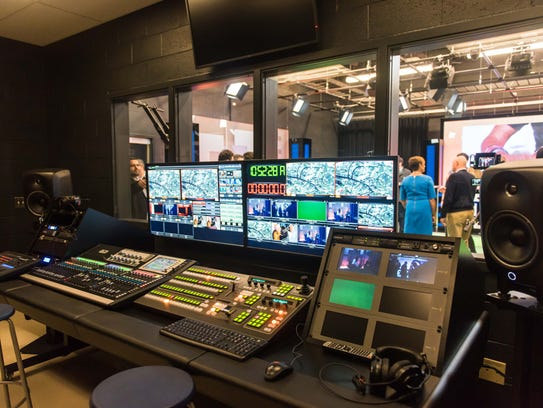 The control room of the new media center at the John