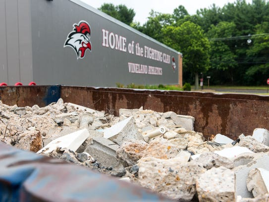 Debris from construction of the boys locker room and