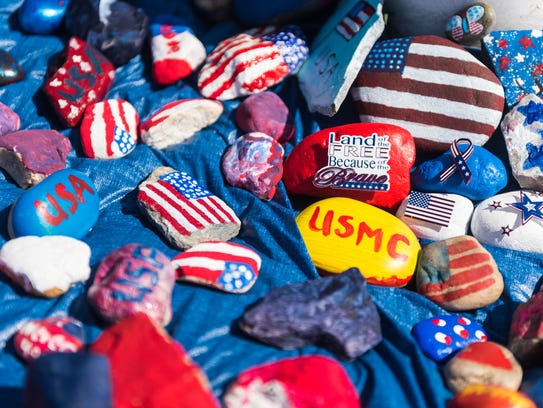 Rocks for 9/11 remembrance at Myron L. Powell Elementary