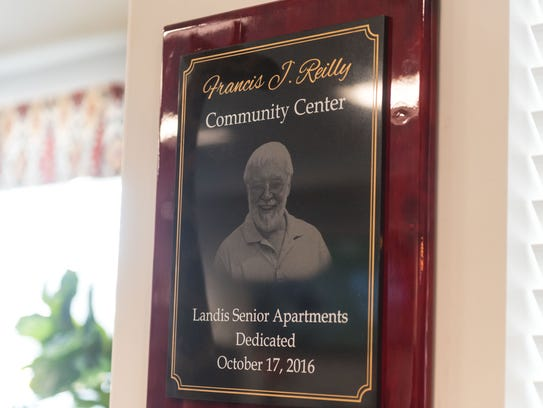 The Francis J Reilly Community Center plaque at the