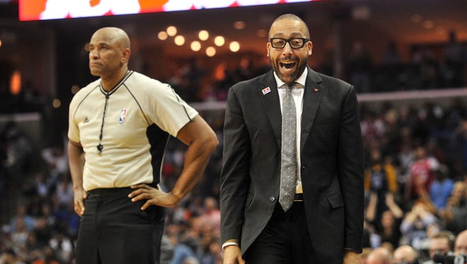Memphis Grizzlies head coach David Fizdale reacts during the second half against the Oklahoma City Thunder at FedExForum. Oklahoma City Thunder defeats the Memphis Grizzlies 103-100.