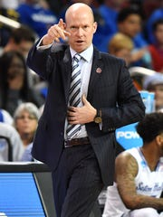 Mar 15, 2018; Wichita, KS, USA; Seton Hall Pirates head coach Kevin Willard reacts against the North Carolina State Wolfpack during the first half in the first round of the 2018 NCAA Tournament at INTRUST Bank Arena.