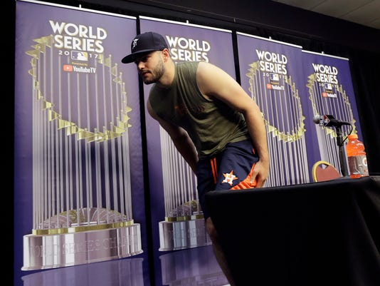 Houston Astros pitcher Lance McCullers Jr. leaves a World Series baseball news conference, Thursday, Oct. 26, 2017, in Houston, Texas. McCullers is set to start Game 3 against the Los Angeles Angels, Friday. (AP Photo/Eric Gay)