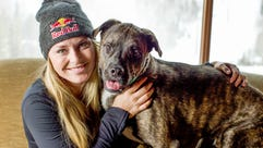 Lindsey Vonn poses with Leo Vonn in Vail, Colo., on
