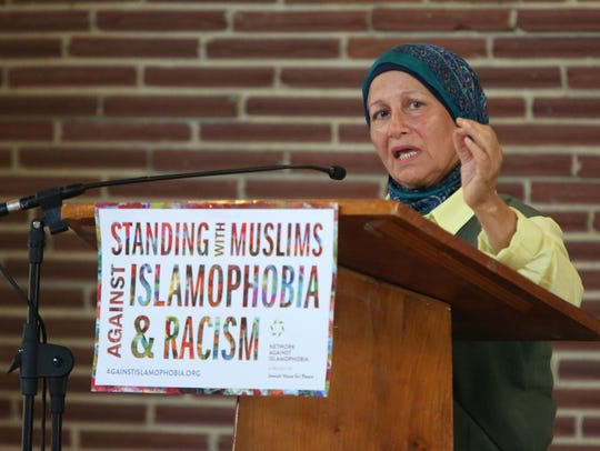 Dr. Mahjabeen Hassan speaks at a discussion called