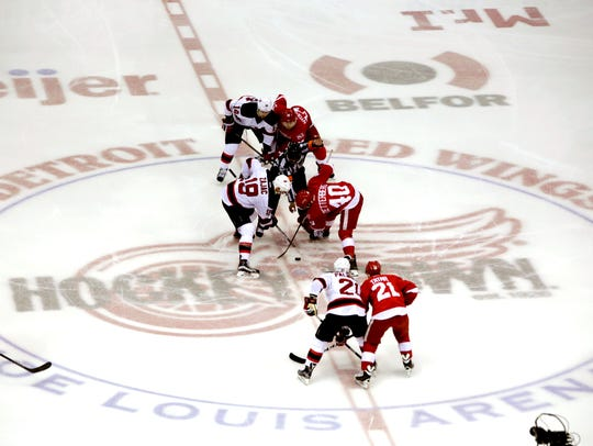 The opening puck drop for the last time at Joe Louis