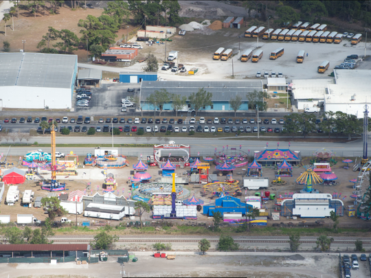 An aerial photograph of the fairgrounds during the 2018 Martin County Fair. The 11.6-acre site has been used for 58 years, but county officials are preparing to relocate the fairgrounds to western Martin County.