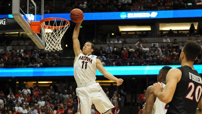 Aaron Gordon skies for a dunk against the San Diego State Aztecs during a NCAA Tournament on March 27, 2014, in Anaheim.
