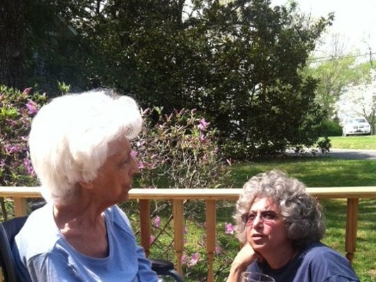 Rhonda Bogard, right, talking with her mother, Selma