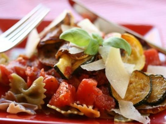 Farfalle with Sweet Marinara and Roasted Vegetables