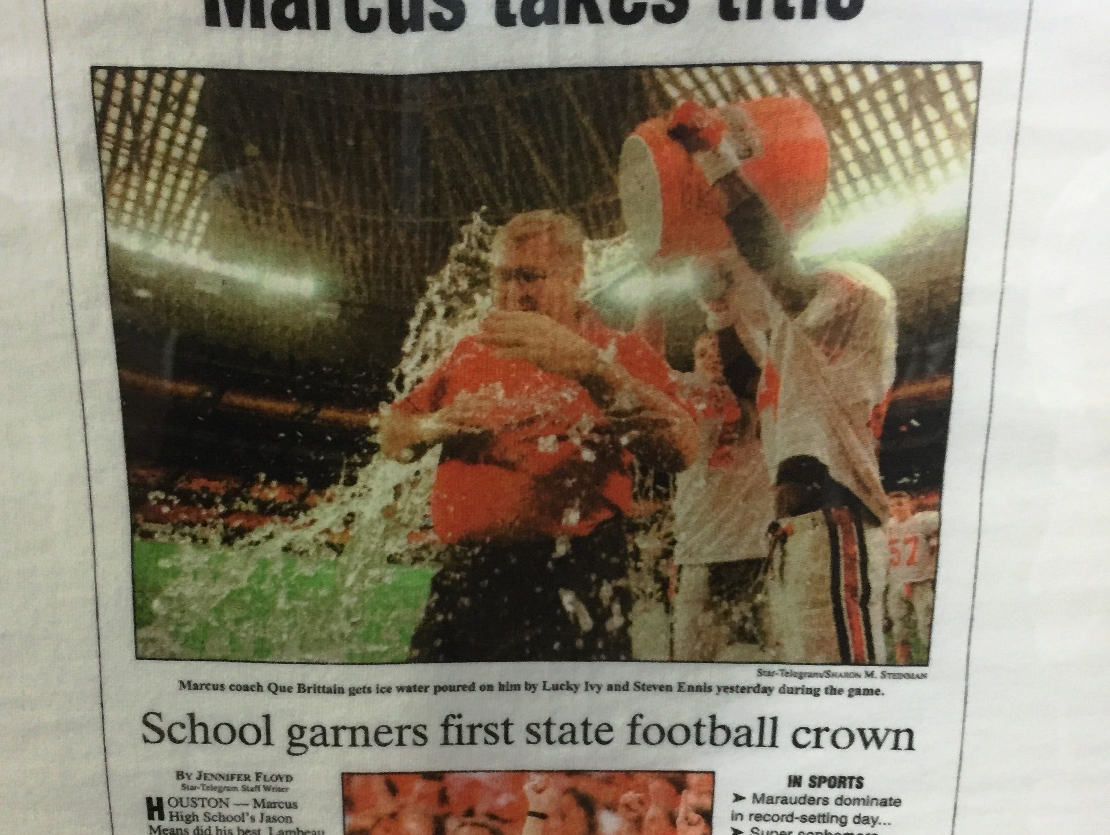 Que Brittain led Flower Mound Marcus to the 1997 Class 5A Division II state football championship.