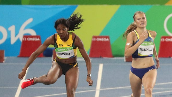 UK's Leah Nugent won her protest after being disqualified and advanced to the semifinals of the women's 400-meter hurdles at the 2016 Rio Olympics on Aug. 15, 2016.