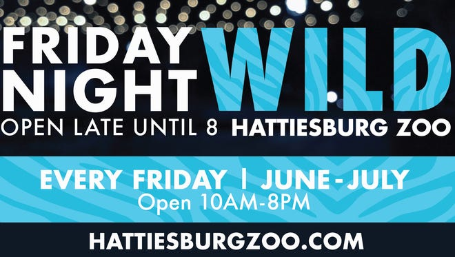 Hattiesburg Zoo recently announced Friday Night Wild, a new extended hour series every Friday in June and July until 8 p.m.