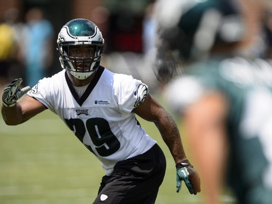 FILE: Safety Nate Allen is happy the Eagles have switched from the wide nine defense to a 3-4.  Howard Smith/USA TODAY Sports Jul 26, 2013; Philadelphia, PA, USA; Philadelphia Eagles safety Nate Allen (29) goes out in coverage during training camp at the Eagles NovaCare Complex. Mandatory Credit: Howard Smith-USA TODAY Sports