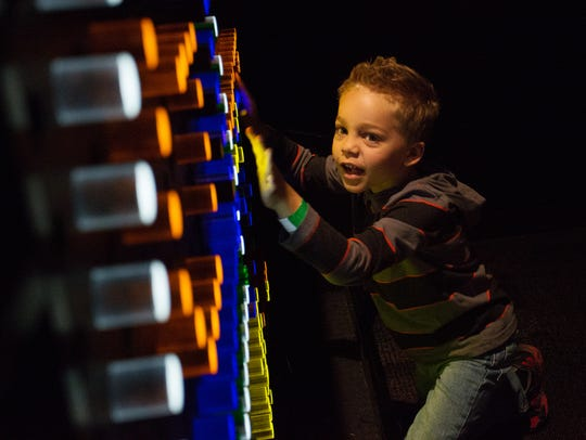 Keagan Goldberg, 5, plays with the Building Blocks