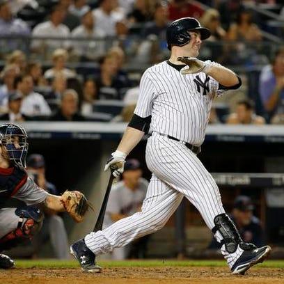 New York Yankees Brian McCann watches a sixth-inning