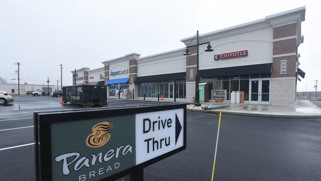 While other businesses remain under construction, Panera Bread prepares to open Wednesday, Feb. 8. The Plaza was built on the former site of Cedar Lanes.