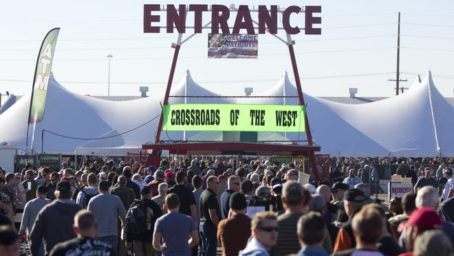 Thousands will gather at the Crossroads of the West Gun Show to buy and sell guns and ammo at the Arizona State Fairgrounds in Phoenix.