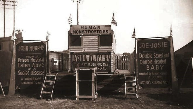 Outrageous sideshows were common during the 1940s, but not just for the Scott Lake family's traveling carnival.